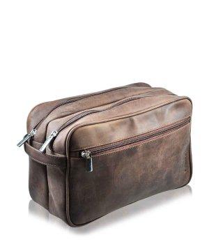 Pfeilring Kulturtasche Braun 2 Fächer Kosmetiktasche für Damen und Herren