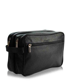 Pfeilring Kulturtasche Schwarz 2 Fächer Kosmetiktasche für Damen und Herren