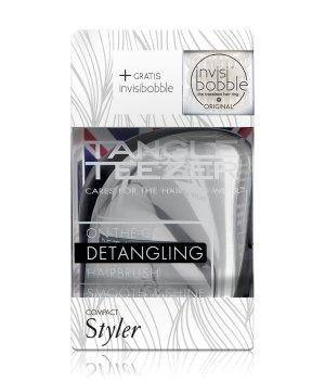 Tangle Teezer Compact Styler Metallic Silber & invisibobble Royal Pearl  Haarstylingset für Damen und Herren
