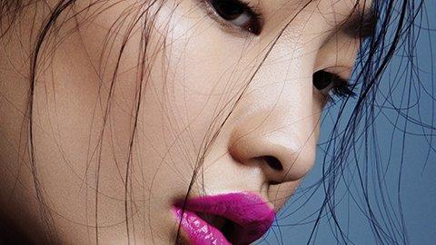 Frau mit pinken Lippen