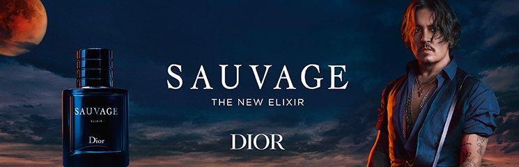 Dior Sauvage Elixir Parfum Flakon und Mann