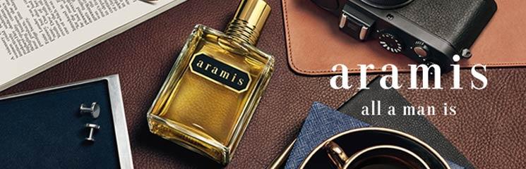 Aramis Parfum Flakon und Markenlogo