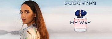 Flakon von Giorgio Armani und Frau