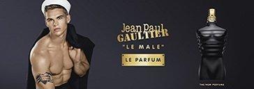 Mann mit Matrosenmütze und Flakon von Jean Paul Gaultier Le Male