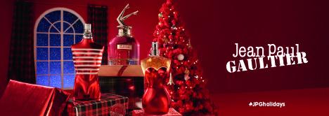 In rot: Weihnachtsbaum mit Weihnachtsbaum, Geschenken und Flakons von Jean Paul Gaultier