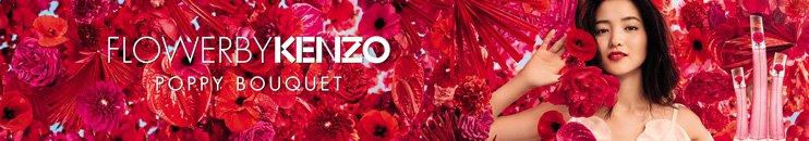 Flakons von Flower by Kenzo und Frau in roten Blüten