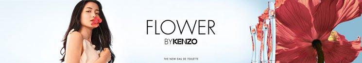 Flakons von Flower by Kenzo und Frau mit Blume