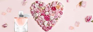 La vie est belle Flakon und Herz aus Blumen zum Muttertag