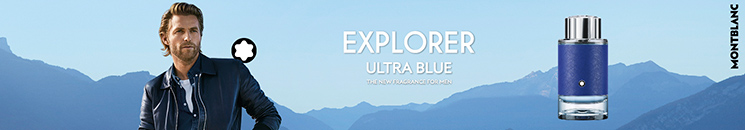 Mann und Montblanc Explorer Ultra Blue Flakon