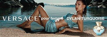 Frau und Versace Dylan Turquoise Parfum Flakon