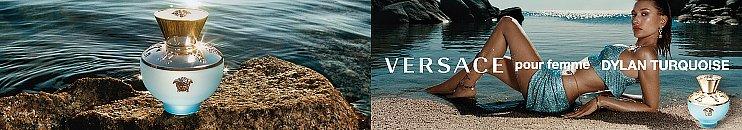 Versace Dylan Turquoise Parfum Flakons und Frau