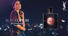 Flakon von Yves Saint Laurent Black Opium und Frau
