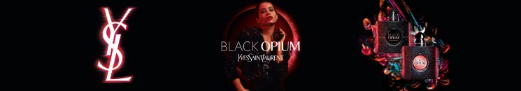 Frau und Yves Saint Laurent Black Opium Flakons